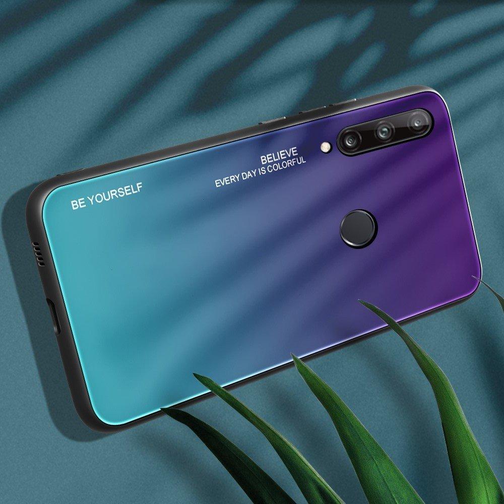 Силиконовый Градиентный Стеклянный Чехол для Huawei P40 lite E Синий