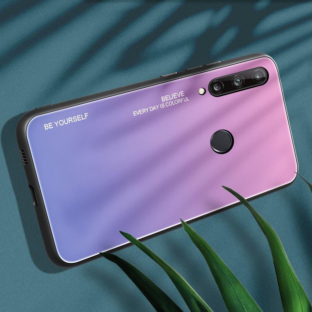 Силиконовый Градиентный Стеклянный Чехол для Huawei P40 lite E Светло Розовый