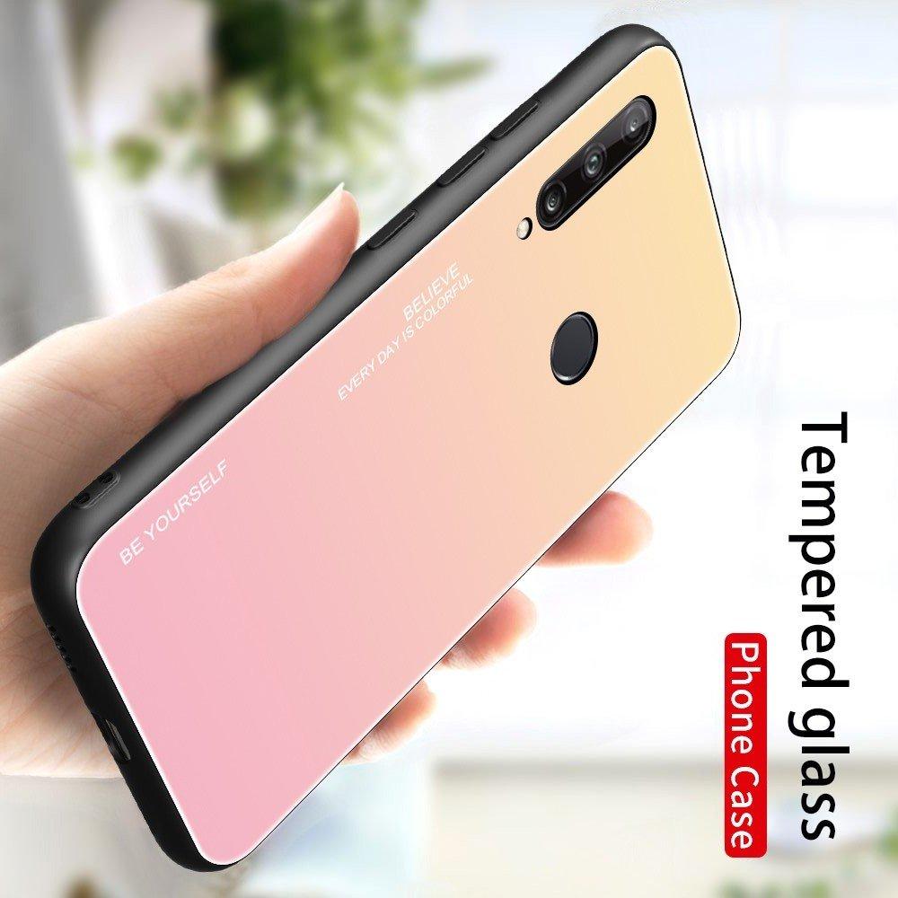 Силиконовый Градиентный Стеклянный Чехол для Huawei P40 lite E Золотой / Розовый