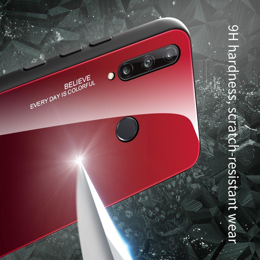 Силиконовый Градиентный Стеклянный Чехол для Huawei P40 lite E Бирюзовый / Синий