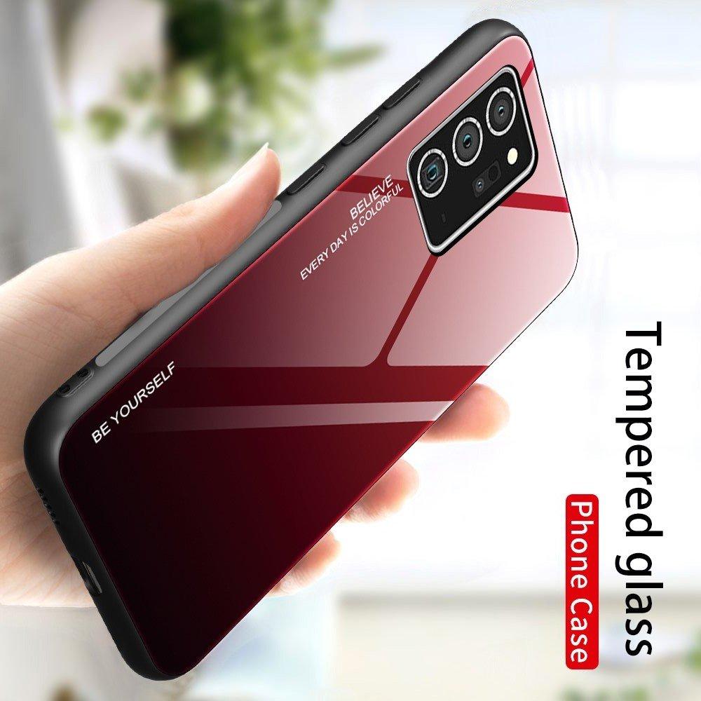 Силиконовый Градиентный Стеклянный Чехол для Samsung Galaxy Note 20 Красный / Черный