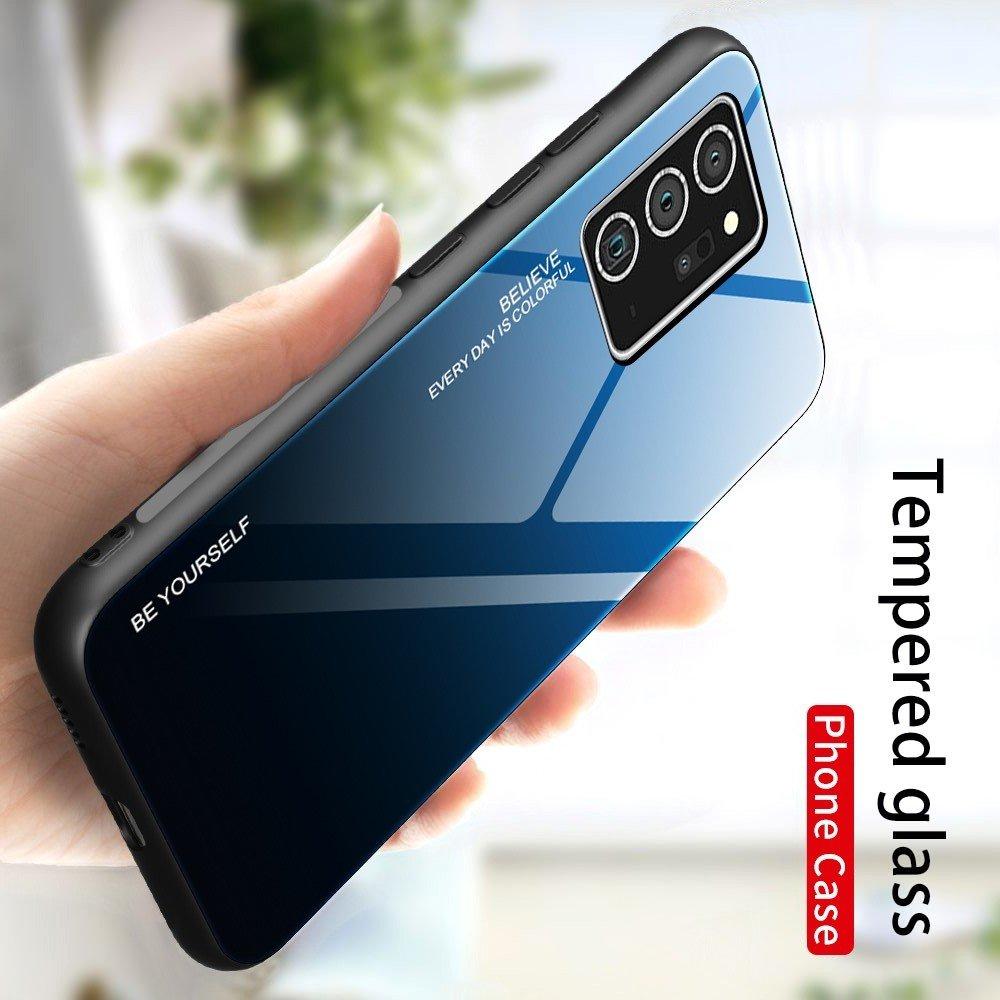 Силиконовый Градиентный Стеклянный Чехол для Samsung Galaxy Note 20 Синий / Черный