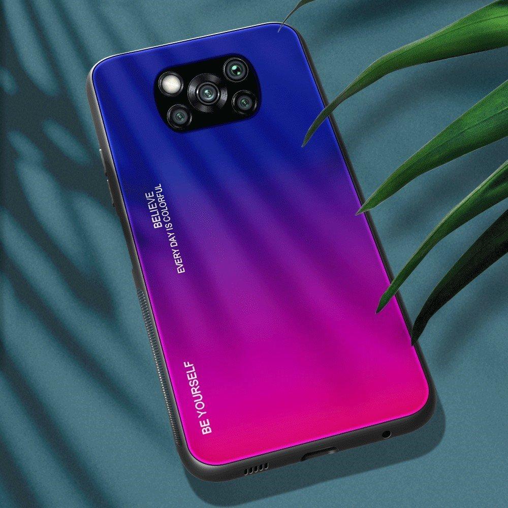 Силиконовый Градиентный Стеклянный Чехол для Xiaomi Poco X3 NFC Синий / Розовый