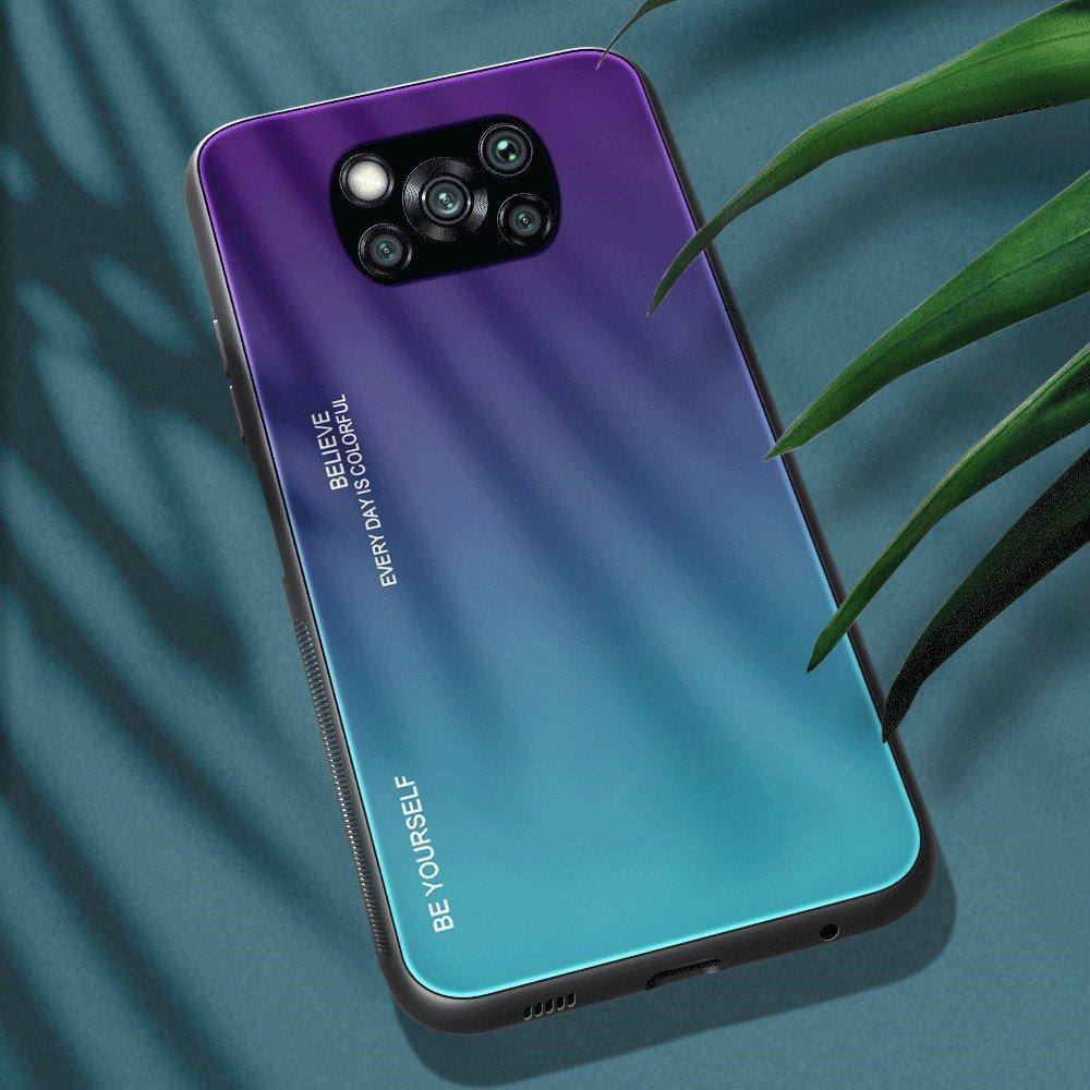 Силиконовый Градиентный Стеклянный Чехол для Xiaomi Poco X3 NFC Синий
