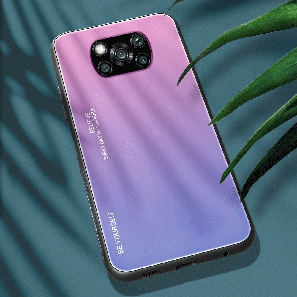 Силиконовый Градиентный Стеклянный Чехол для Xiaomi Poco X3 NFC Светло Розовый