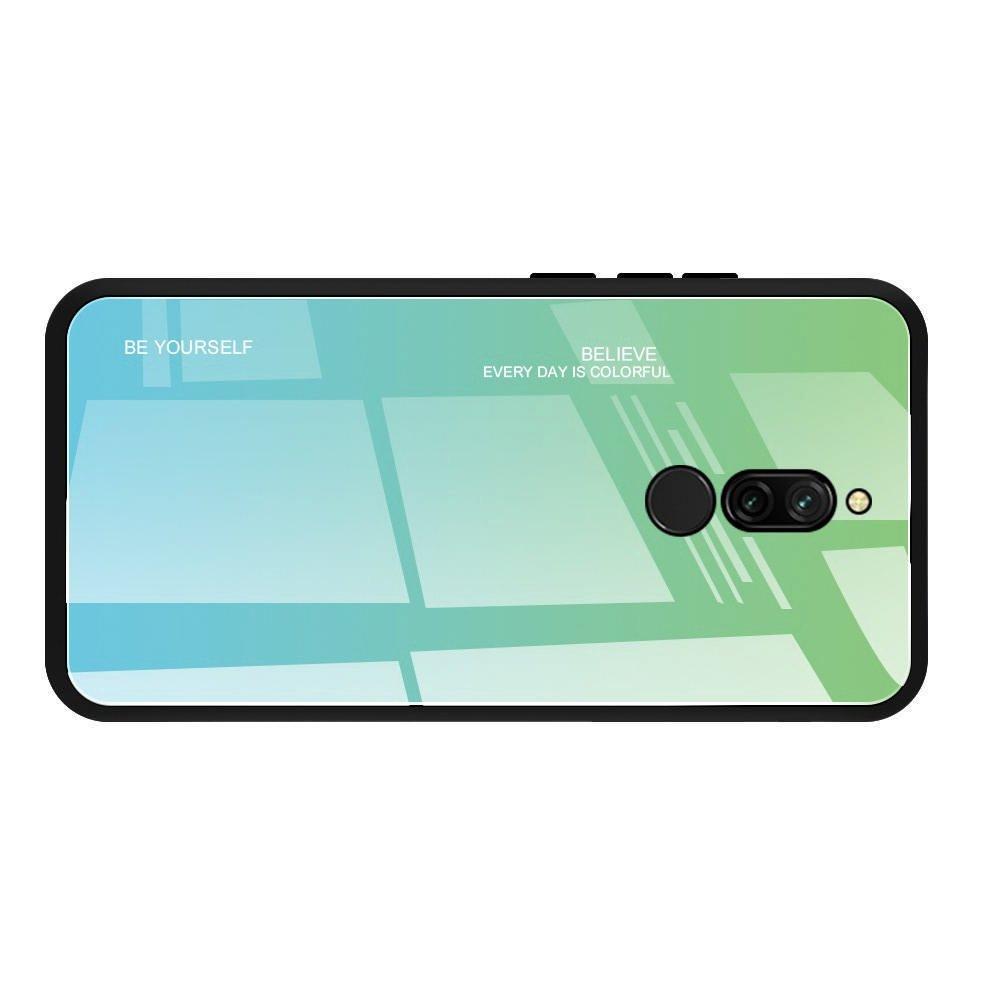 Силиконовый Градиентный Устойчивый к Царапинам Стеклянный Чехол для Xiaomi Redmi 8 Бирюзовый