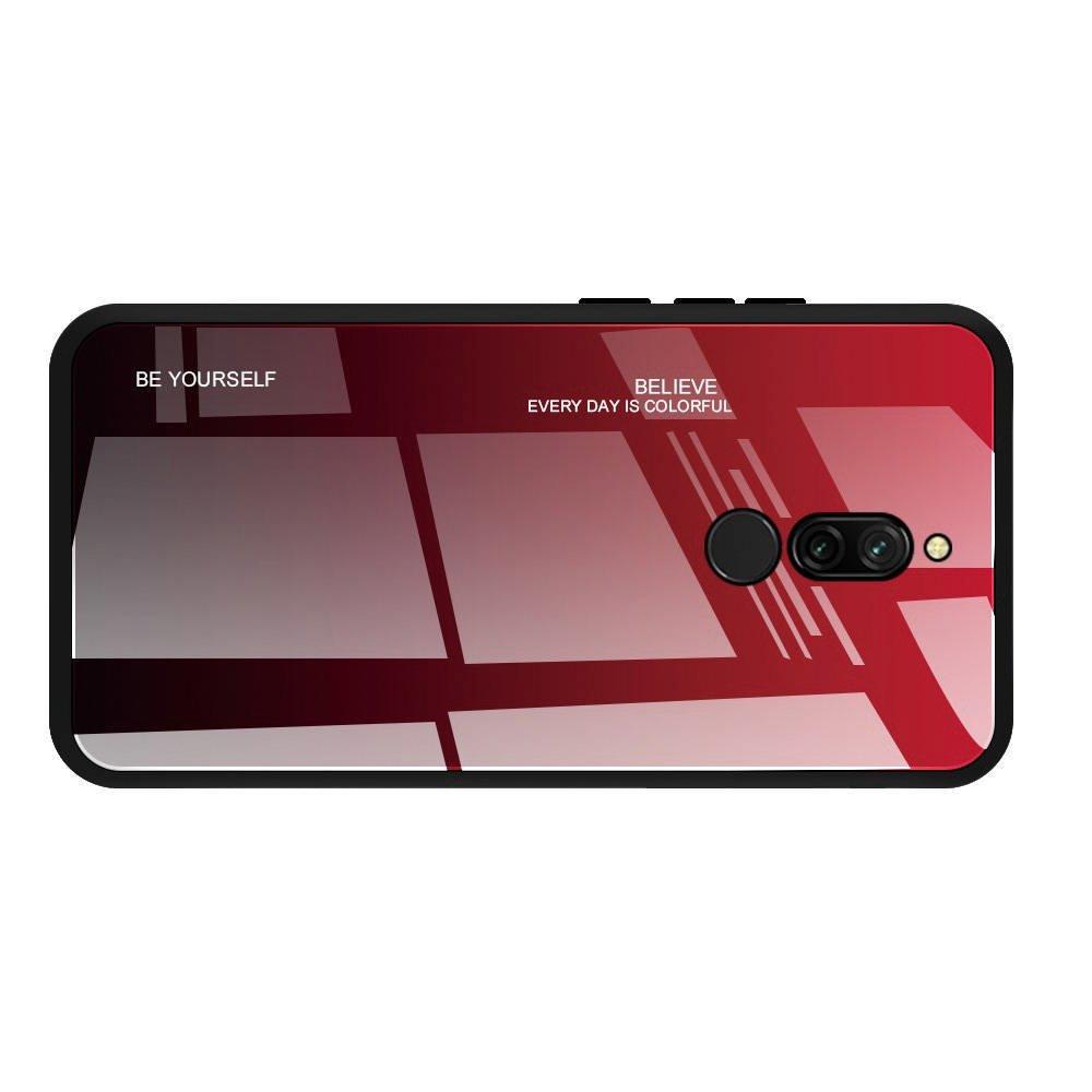 Силиконовый Градиентный Устойчивый к Царапинам Стеклянный Чехол для Xiaomi Redmi 8 Красный / Черный