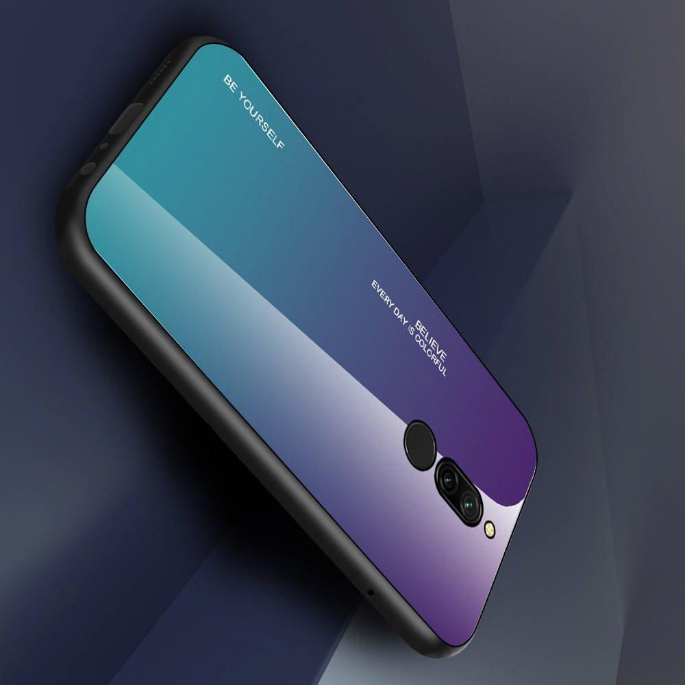 Силиконовый Градиентный Устойчивый к Царапинам Стеклянный Чехол для Xiaomi Redmi 8 Фиолетовый / Синий