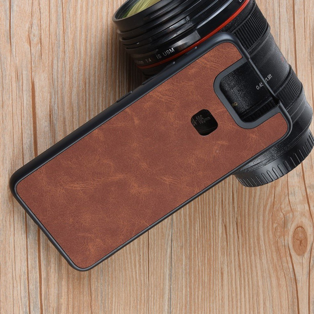 Силиконовый Защитный Чехол с Покрытием из PU Кожи для Asus Zenfone 6 ZS630KL Коричневый