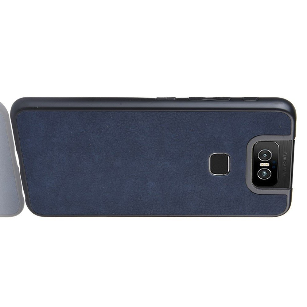 Силиконовый Защитный Чехол с Покрытием из PU Кожи для Asus Zenfone 6 ZS630KL Синий