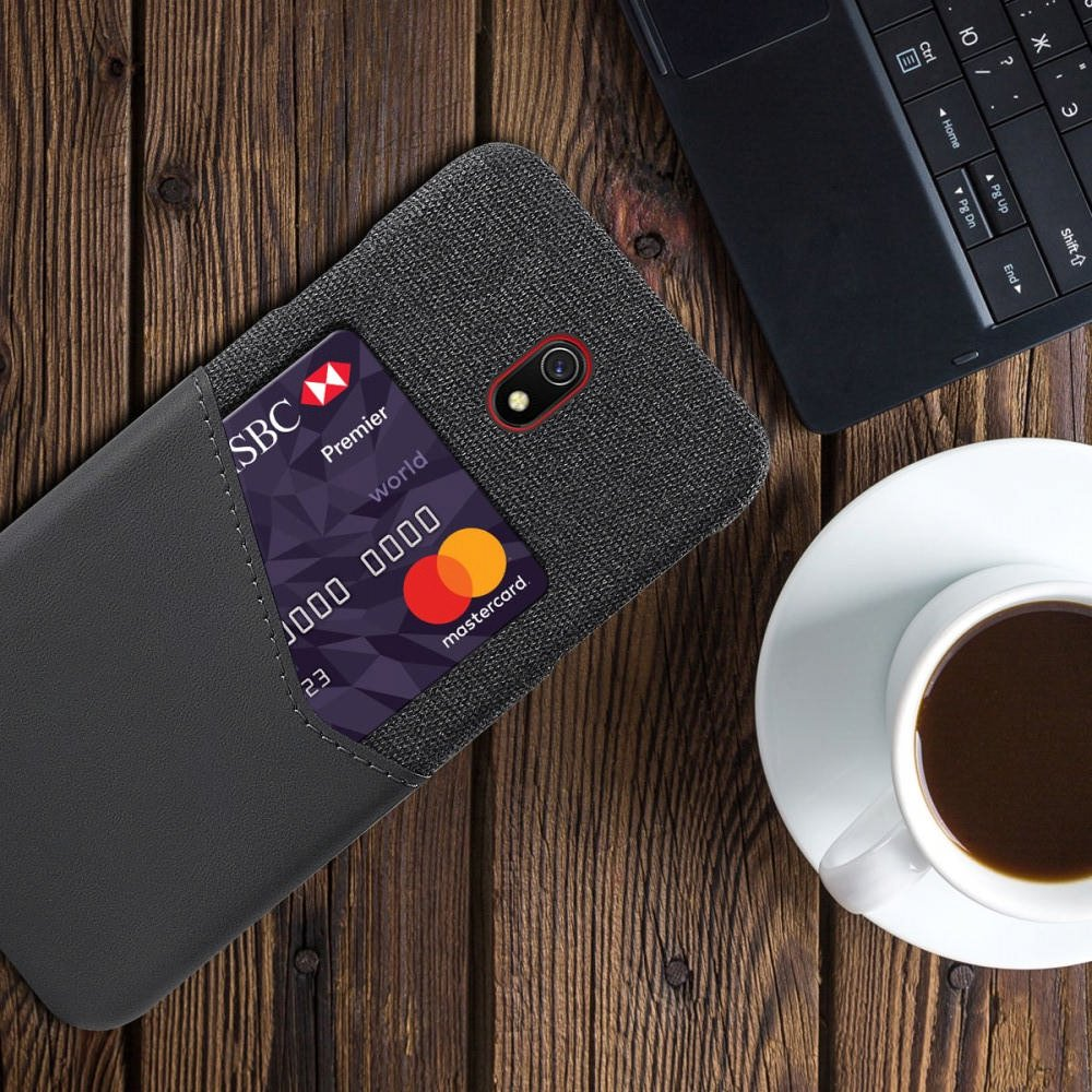 Силиконовый Защитный Чехол с Покрытием из PU Кожи для Xiaomi Redmi 8A Серый