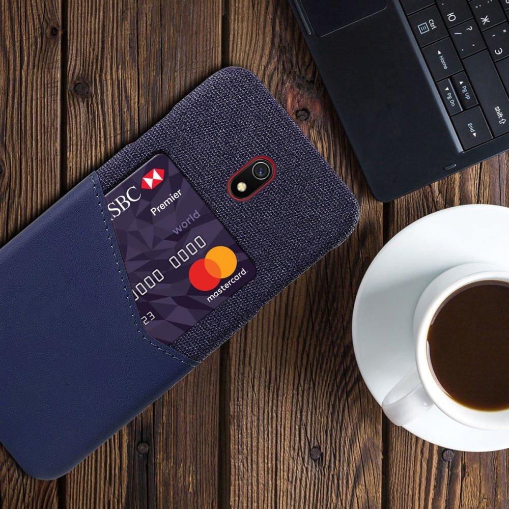 Силиконовый Защитный Чехол с Покрытием из PU Кожи для Xiaomi Redmi 8A Синий