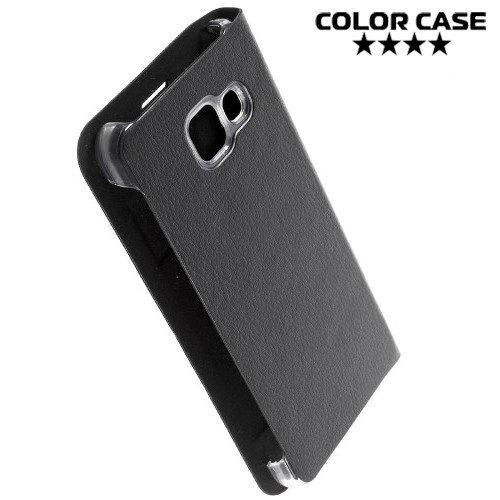 Тонкий чехол книжка для Samsung Galaxy A3 2016 SM-A310F - Черный