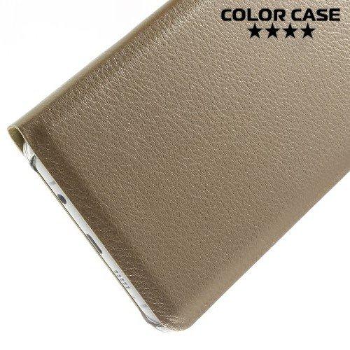 Тонкий чехол книжка для Samsung Galaxy A5 2016 SM-A510F - Золотой