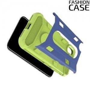 Гибридный матовый чехол для iPhone Xs / X - Зелёный и синий