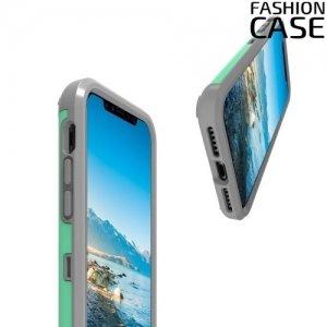 Гибридный матовый чехол для iPhone Xs / X - Бирюзовый и серый