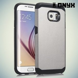 Гибридный противоударный чехол для Samsung Galaxy S6 Edge - серебряный