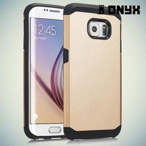 Гибридный противоударный чехол для Samsung Galaxy S6 Edge - золотой
