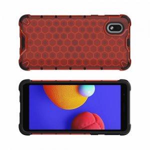 Honeycomb противоударный матовый чехол для Samsung Galaxy A01 Core - Красный
