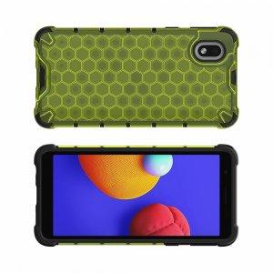 Honeycomb противоударный матовый чехол для Samsung Galaxy A01 Core - Зеленый