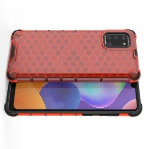 Honeycomb противоударный матовый чехол для Samsung Galaxy A31 - Красный