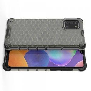 Honeycomb противоударный матовый чехол для Samsung Galaxy A31 - Серый