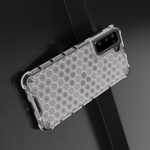 Honeycomb противоударный матовый чехол для Samsung Galaxy S21 - Белый