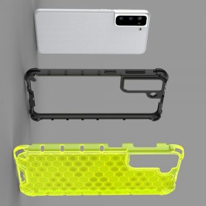 Honeycomb противоударный матовый чехол для Samsung Galaxy S21 - Синий