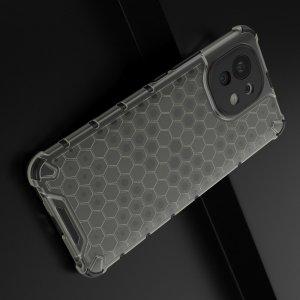 Honeycomb противоударный матовый чехол для Xiaomi Mi 11 - Черный