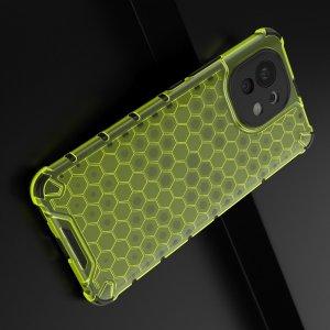 Honeycomb противоударный матовый чехол для Xiaomi Mi 11 - Зеленый