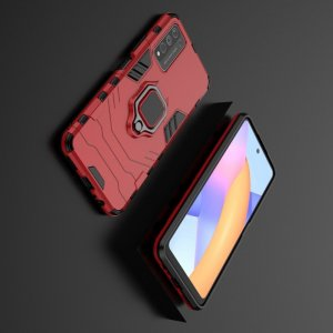 Hybrid Armor Ring Противоударный защитный двухслойный чехол с кольцом под палец подставкой держателем для Huawei Honor 10X Lite Красный