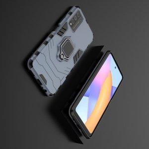 Hybrid Armor Ring Противоударный защитный двухслойный чехол с кольцом под палец подставкой держателем для Huawei Honor 10X Lite Синий