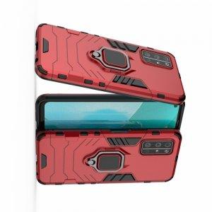 Hybrid Armor Ring Противоударный защитный двухслойный чехол с кольцом под палец подставкой держателем для Huawei Honor 30S Красный