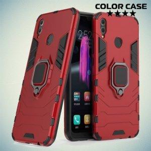 Hybrid Armor Ring Противоударный защитный двухслойный чехол с кольцом под палец подставкой держателем для Huawei Honor 8X Красный