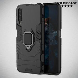 Hybrid Armor Ring Противоударный защитный двухслойный чехол с кольцом под палец подставкой держателем для Huawei Honor 9X / 9X Premium Черный