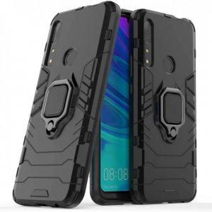 Hybrid Armor Ring Противоударный защитный двухслойный чехол с кольцом под палец подставкой держателем для Huawei Honor 9X / P Smart Z Черный