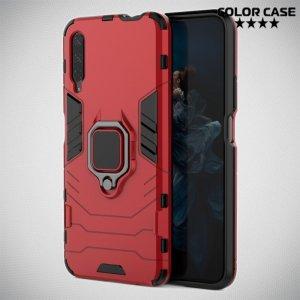 Hybrid Armor Ring Противоударный защитный двухслойный чехол с кольцом под палец подставкой держателем для Huawei Honor 9X / 9X Premium Красный