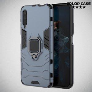 Hybrid Armor Ring Противоударный защитный двухслойный чехол с кольцом под палец подставкой держателем для Huawei Honor 9X / 9X Premium Серый