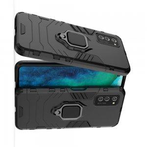 Hybrid Armor Ring Противоударный защитный двухслойный чехол с кольцом под палец подставкой держателем для Huawei Honor View 30 / View 30 Pro Черный