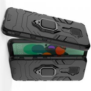 Hybrid Armor Ring Противоударный защитный двухслойный чехол с кольцом под палец подставкой держателем для Huawei Mate 30 Lite Черный