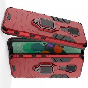 Hybrid Armor Ring Противоударный защитный двухслойный чехол с кольцом под палец подставкой держателем для Huawei Mate 30 Lite Красный