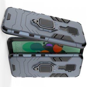 Hybrid Armor Ring Противоударный защитный двухслойный чехол с кольцом под палец подставкой держателем для Huawei Mate 30 Lite Синий