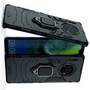 Hybrid Armor Ring Противоударный защитный двухслойный чехол с кольцом под палец подставкой держателем для Huawei Mate 30 Pro Черный