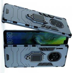 Hybrid Armor Ring Противоударный защитный двухслойный чехол с кольцом под палец подставкой держателем для Huawei Mate 30 Pro Синий