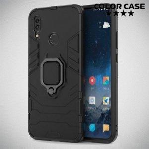 Hybrid Armor Ring Противоударный защитный двухслойный чехол с кольцом под палец подставкой держателем для Huawei P Smart 2019 / Huawei Honor 10 Lite Черный