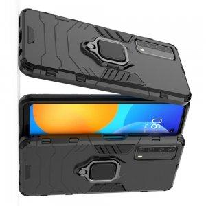 Hybrid Armor Ring Противоударный защитный двухслойный чехол с кольцом под палец подставкой держателем для Huawei P Smart 2021 Черный