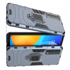 Hybrid Armor Ring Противоударный защитный двухслойный чехол с кольцом под палец подставкой держателем для Huawei P Smart 2021 Синий