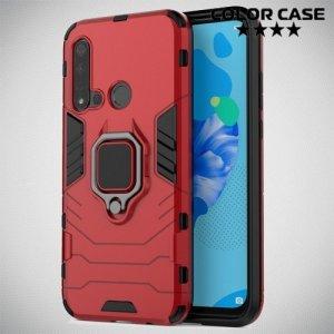 Hybrid Armor Ring Противоударный защитный двухслойный чехол с кольцом под палец подставкой держателем для Huawei P20 lite (2019) / nova 5i Красный
