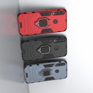Hybrid Armor Ring Противоударный защитный двухслойный чехол с кольцом под палец подставкой держателем для Huawei P40 lite E Черный