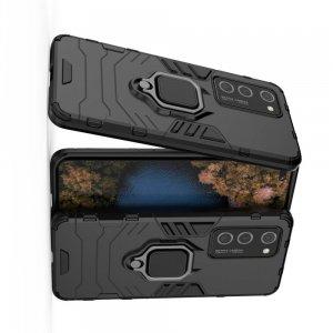 Hybrid Armor Ring Противоударный защитный двухслойный чехол с кольцом под палец подставкой держателем для Huawei P40 Pro Черный